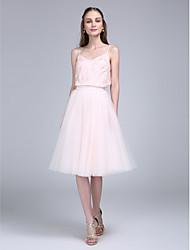 LAN TING BRIDE Knee-length Spaghetti Straps Bridesmaid Dress - Two Pieces Sleeveless Lace Tulle