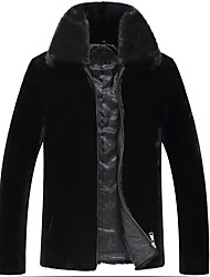 Men's Plus Size Street chic Fur Coat,Solid Stand Long Sleeve Winter Black Wool Thick