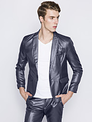 Men's European Style Slim Plaid One Button Suits Plaid Notch Lapel Long Sleeve Blue / Gray Cotton / Polyester