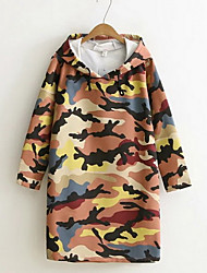 Women's Casual/Daily Cute Tunic Dress,Camouflage Hooded Above Knee Long Sleeve Multi-color Polyester Fall / Winter Mid Rise Micro-elastic
