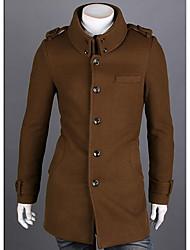 Men's Casual/Daily / Work Simple Trench Coat,Solid Shirt Collar Long Sleeve All Seasons Black / Brown / Gray Wool Medium