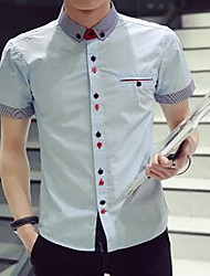 Men's Going out Simple Summer Shirt,Solid Shirt Collar Short Sleeve Blue / Black Cotton Thin