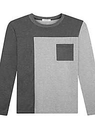 Trenduality® Herren Rundhalsausschnitt Lange Ärmel T-Shirt Schwarz / Dunkelgrau - 53018