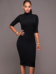 Women's Casual/Daily / Club Sexy / Street chic Backless Bodycon DressSolid Crew Neck Midi Long Sleeve Spring / FallMid