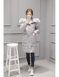 Real fox fur hooded long section of large pockets Slim thicker 90 white duck down jacket women outside