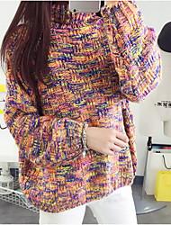 Damen Standard Pullover-Ausgehen Niedlich Gestreift Mehrfarbig Rollkragen Langarm Acryl Herbst Winter Dick Mikro-elastisch