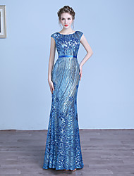 Formal Evening Dress Sheath / Column Jewel Floor-length Tulle / Sequined with Sequins