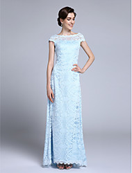 LAN TING BRIDE Sheath / Column Mother of the Bride Dress - Open Back Floor-length Short Sleeve Lace with Lace