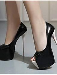 Damen-High Heels-Lässig-PUKomfort-Schwarz / Weiß