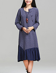 Women's Pleated Floral Print chic Loose Dress Print Asymmetrical Midi Long Sleeve Blue / Red Cotton / Linen Fall Mid Rise Inelastic Medium