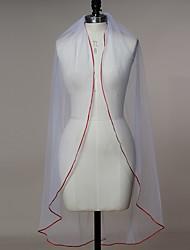 Wedding Veil One-tier Fingertip Veils Ribbon Edge Tulle