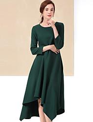 Mujer Corte Ancho Vestido Casual/Diario Simple,Un Color Escote Redondo Asimétrico 3/4 Manga Verde / Amarillo Lana / PoliésterOtoño /
