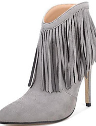 Women's Boots Spring / Fall / Winter Gladiator Fur Office & Career / Party & Evening / Dress / Casual Stiletto Heel Tassel Black / Gray