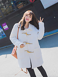 Women's Going out / Casual/Daily Cute Coat,Solid Shirt Collar Long Sleeve Winter White Wool Thick