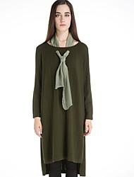 Damen Lang Pullover-Lässig/Alltäglich Retro Solide Schwarz Grün Rundhalsausschnitt Langarm Wolle Winter Mittel Mikro-elastisch