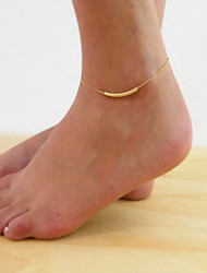 Woman Silver Alloy Lace U Tube Lobster Clasp Anklet