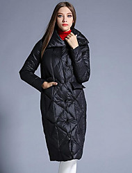 Women's Regular Down Coat,Simple Going out Solid-Polyester White Duck Down Long Sleeve Black