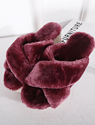 Women's Slippers & Flip-Flops Fall / Winter Slingback Fur Casual Wedge Heel Others Black / Almond / Burgundy Others