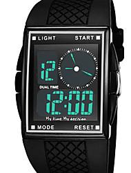 Masculino Relógio Esportivo / Relógio de Moda / Relógio de Pulso Digital LED / Impermeável / Dois Fusos Horários / alarme Borracha Banda