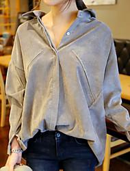 Женский На каждый день Рубашка V-образный вырез,Секси Однотонный Серый Длинный рукав,Хлопок
