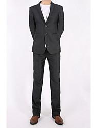 costumes Hommes,Couleur Pleine Décontracté / Quotidien / Grandes Tailles simple Toutes les Saisons Manches Longues Col de Chemise Noir