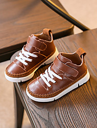 Boy's Sneakers Fall Comfort Leather Casual Flat Heel Magic Tape Black Brown Others