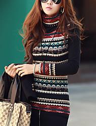 Damen Geometrisch Boho Lässig/Alltäglich T-shirt Winter Langarm Mehrfarbig Baumwolle / Polyester Dick