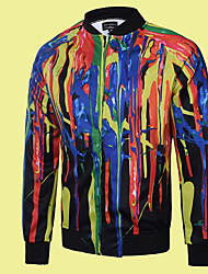 Men's Casual/Daily Simple Jackets,Print / Rainbow Stand Long Sleeve Fall Multi-color Polyester Medium