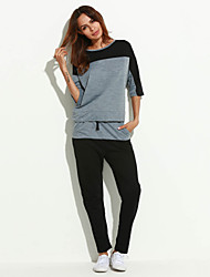 Hoodies Aux femmes Sportif Grandes Tailles / Actif Mosaïque Gris Polyester