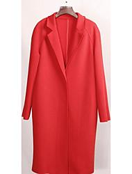 Feminino Casaco Informal / Casual / Férias Simples Inverno,Sólido Vermelho Algodão Colarinho de Camisa-Manga Longa Média
