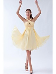 A-Line Halter Knee Length Chiffon Bridesmaid Dress with Beading Ruching