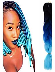 "céu preto safira azul ombre crochet 24"" yaki kanekalon 3 tom 100g tranças jumbo de cabelo sintético"