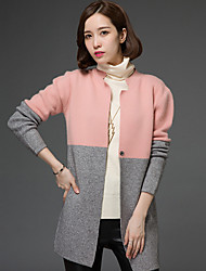 Women's Work Holiday Vintage Street chic Sophisticated Long Cardigan,Color Block Multi-color Round Neck Long Sleeve Cotton Spring Winter