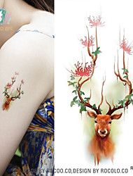 1Pcs Christmas Color Cute Design Of Sika Deer Waterproof Tattoos