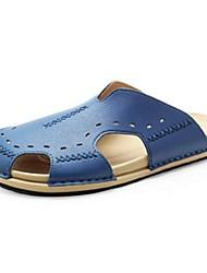 Masculino-Chinelos e flip-flops-Conforto-Rasteiro--Couro Ecológico-Casual