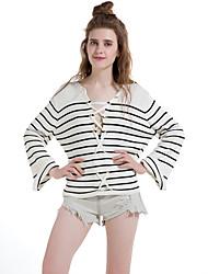 Damen Standard Pullover-Lässig/Alltäglich Retro Einfach Gestreift Weiß Schwarz V-Ausschnitt Langarm Baumwolle Polyester Winter Dick