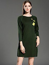 INPLUS LADY Women's Casual/Daily Vintage Sheath / Sweater DressEmbroidered Round Neck Above Knee Long Sleeve Green Wool / Rayon / Acrylic WinterMid