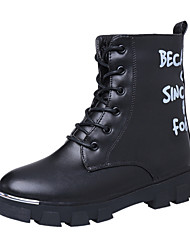 Women's Leather Boots Comfort Combat Boots Casual High Top Shoes Outdoor Low Heel Lace-up Black EU36-39