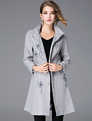 JOJO HANS Women's Casual/Daily Simple CoatSolid Shirt Collar Long Sleeve Winter Blue / Gray Polyester