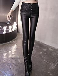 Feminino Skinny Chinos Calças-Cor Única Casual Simples / Moda de Rua Cintura Alta Elasticidade PU Stretchy Outono / Inverno