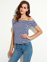 Women's Casual/Daily Street chic Summer T-shirt,Striped Boat Neck Short Sleeve Blue Cotton Medium