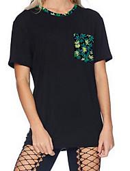Damen Geometrisch Einfach Ausgehen T-shirt,Rundhalsausschnitt Kurzarm Schwarz Baumwolle