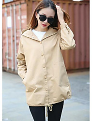 Women's Casual/Daily Simple Trench Coat,Solid Long Sleeve Fall Multi-color Polyester Medium
