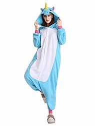 kigurumi Pyjamas Cheval Fête / Célébration Pyjamas Animale Halloween Rose Bleu Violet Fuschia Motif Animal vison de velours Kigurumi Pour
