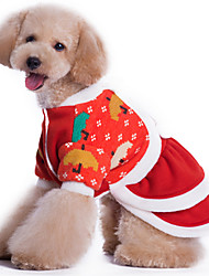 Dog Sweater Red / Orange Dog Clothes Winter Flower Christmas