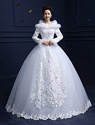 A-line Wedding Dress Floor-length Scoop Cotton / Lace / Tulle with Beading / Feather / Fur / Lace / Sequin