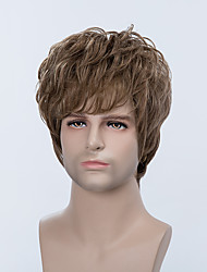 Handsome Short Capless Wigs Natural Wavy Human Hair For Men