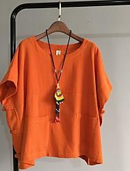 Tee-shirt Femme,Couleur Pleine Sortie Vintage / simple Eté Manches Courtes Col Arrondi Rose / Vert / Orange Coton Fin