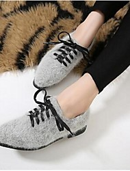 Women's Flats Comfort Fur Casual Black Yellow Gray