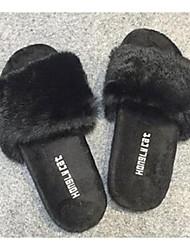 Damen-Slippers & Flip-Flops-Lässig-PferdehaarKomfort-Schwarz / Rot / Grau
